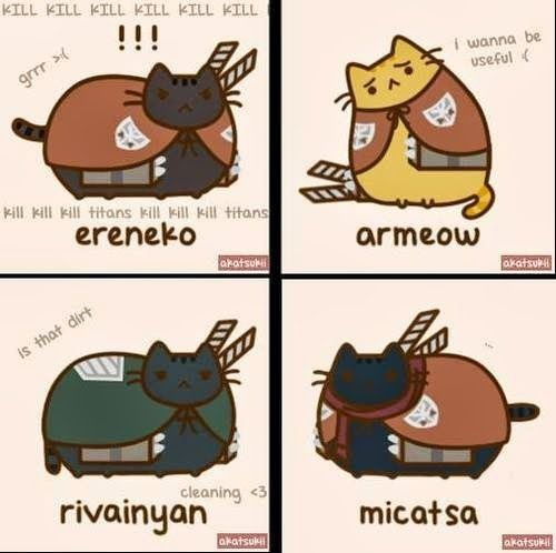 This is the most perfect thing. Seriously. Mikasa Ackerman, Eren Jaeger, Armin Arlert and Rivaille (Levi)