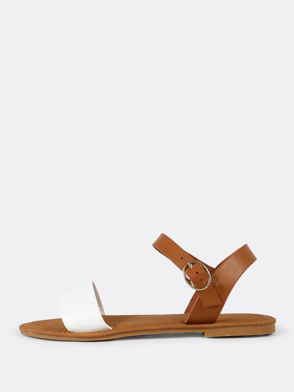 307af7ac3f2 Sling Back Ankle Strap Single Band Flat Sandal WHITE NATURAL  -SheIn(Sheinside)