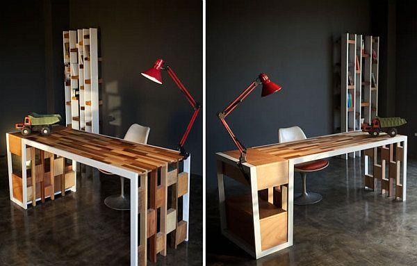 Восстановленная мебель из дерева. Письменный стол, книжный шкаф и сервант от дизайнеров Nicola Santini и Pier Paolo Taddei