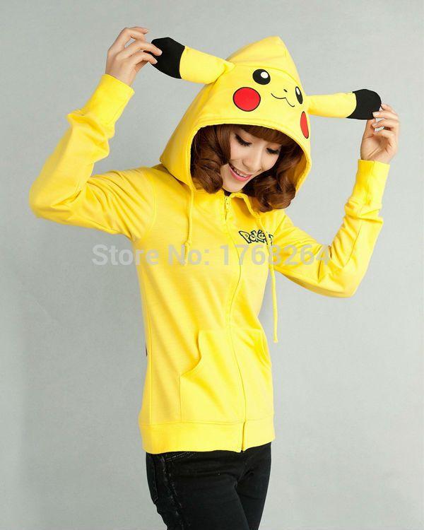 Anime Animal Women Men Cute Pokemon Pikachu Hooded Jacket Yellow Hoodie with Ears Polar Fleece Winter Hoody Plus Size Outwear