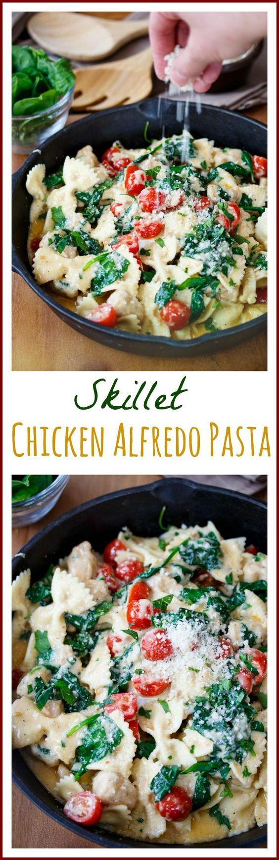 Skillet Chicken Alfredo Pasta: Bow tie pasta tossed in a rich & creamy alfredo sauce with chicken, spinach, and tomatoes. Ready in 30 minutes!