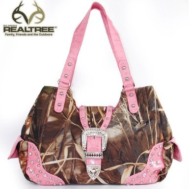 Amazon.com: REALTREE Western Camouflage Rhinestone Studded Buckle Turn Over Top Tote Satchel Shoulder Handbag Purse in Camo and Light Pink: Clothing $42.99