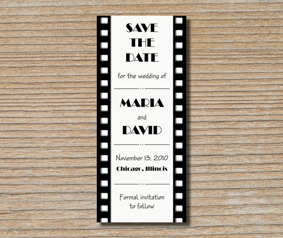 Save the Date Card Film Strip Movie Reel in by DaisyDesignShop, $2.00