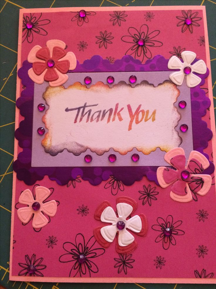 Thank you with Die cut flowers