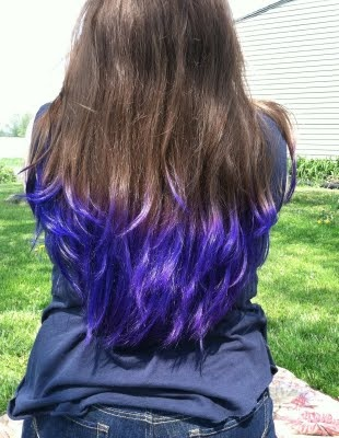 Blueish Purple Dip Dye {source} Estelluxx http://estelluxx.blogspot.com/2011/06/dip-dye-hair.html