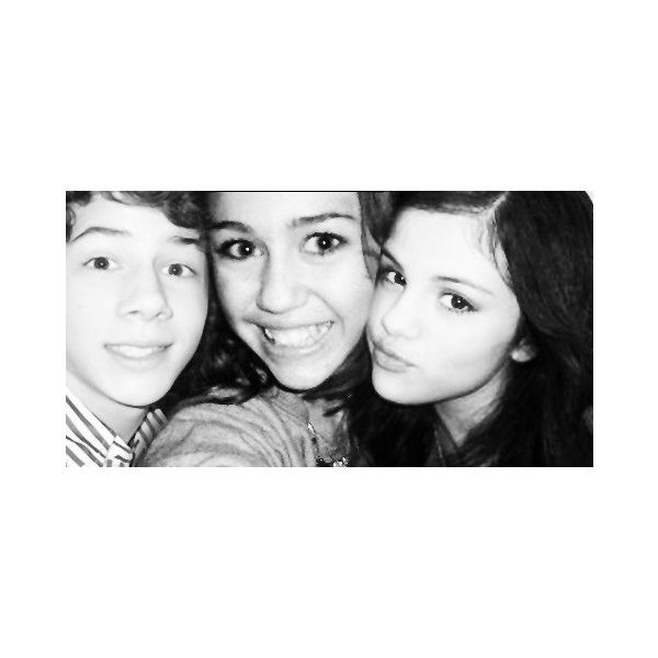 nick jonas , miley cyrus , selena gomez ❤ liked on Polyvore featuring miley cyrus, selena gomez and nick jonas