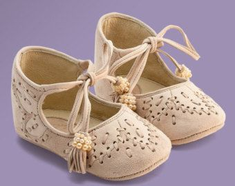 Beige leather baby shoes with shirred silk eco friendly by Vibys