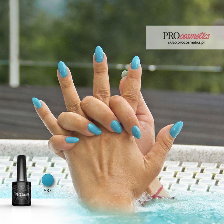 Turkusowe paznokcie hybrydowe / żelowe - PROnail 537 Turkusowy Raj - kolor turkusowy