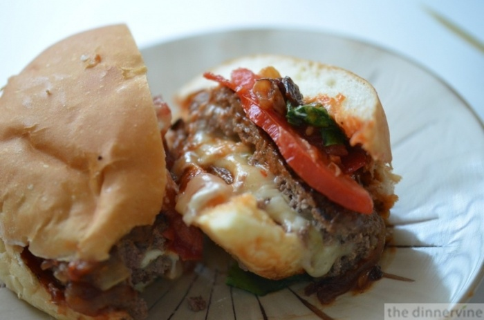 Cheese stuffed burgers w/ caramelized onions