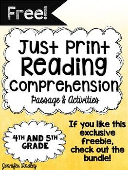 This FREE product includes one passage with no prep comprehension and text dependent activities!