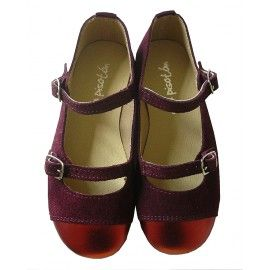 Zapatos niña con doble hebilla color burdeos, www.donpisoton,com