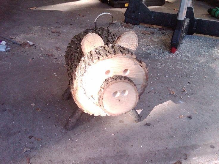 Log Pig- Wood slice animal