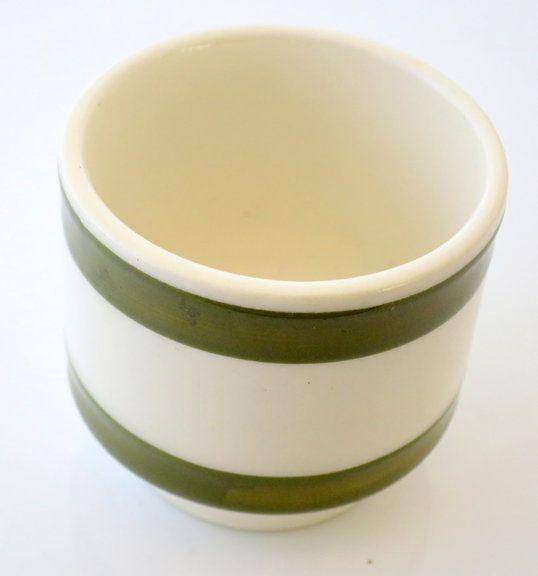 VINTAGE TREASURE - Green and cream stripe egg cup www.vintagetreasure.co.nz