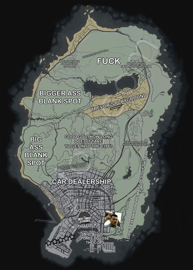 "This is the basic layout of the map. | Community Post: 32 Things Every Gamer Should Know Before Playing ""Grand Theft Auto 5"""