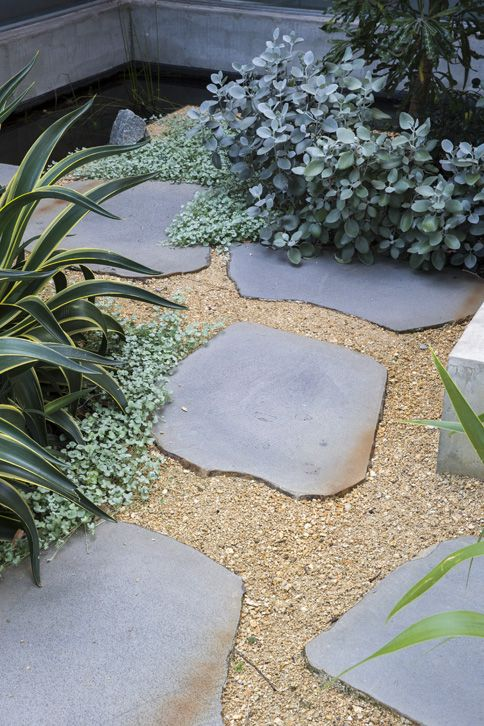 irregular pavers and plantings