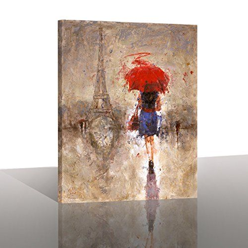 "Canvas Print Wall Art- 24x36 "" Large Size ""Red Umbrella Walking on Paris"" Canvas Oil Painting Picture Artworks Modern Landscape for Wall Decor & Home Decoration -P1L009-6090"