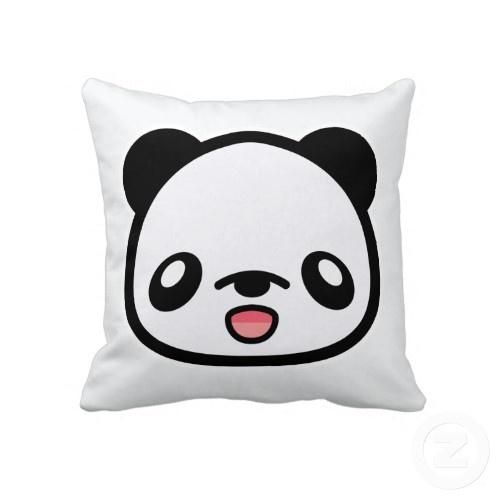 N1ki's Kawaii Happy Panda Head White throwpillow
