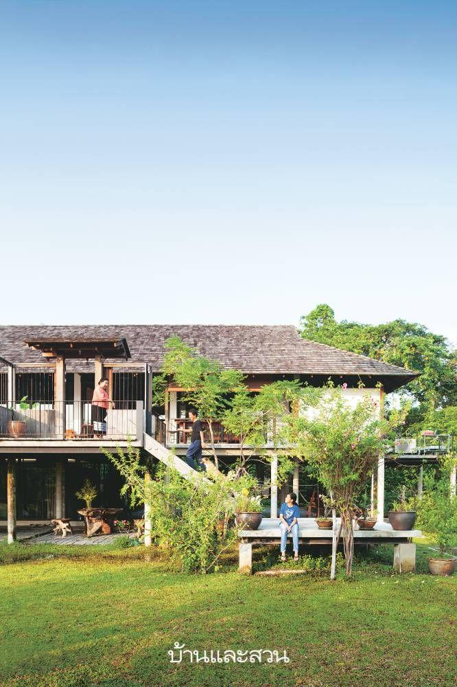บ านใต ถ นส ง House Exterior Thai House Exterior Design
