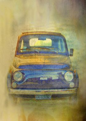 steel #poster Vintage #car vintage #fiat500 #oldTimer #automobile microcar #italian legend #print #displate