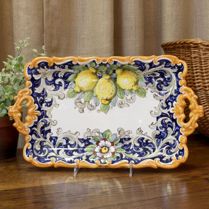 """""""Limoni"""" Lemons Pattern Italian Ceramic Tray with Two Handles from Fatto a Mano Antiques"""