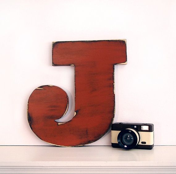 Wooden Letter J Pictured in Brick Pine Wood Sign by ThePineNuts, $28.00