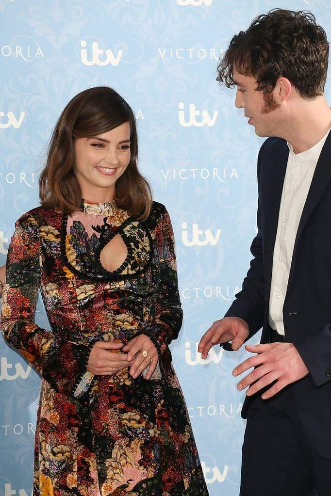 Jenna Coleman and Tom Hughes at the press call for the Victoria II premiere, August 24, 2017.