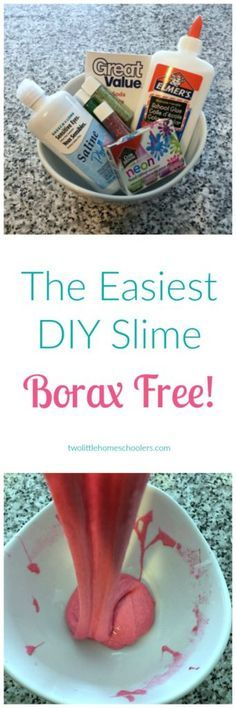 Two Little Homeschoolers - The Easiest DIY Slime- Borax Free! -Activities, Borax free, Flubber, Gak, Glitter slime, Homeschool, indoor activities, keep kids busy, Kids, Learning, non toxic, Parenting, Saline, Saline Slime, Slime, stretchy slime, summer ac