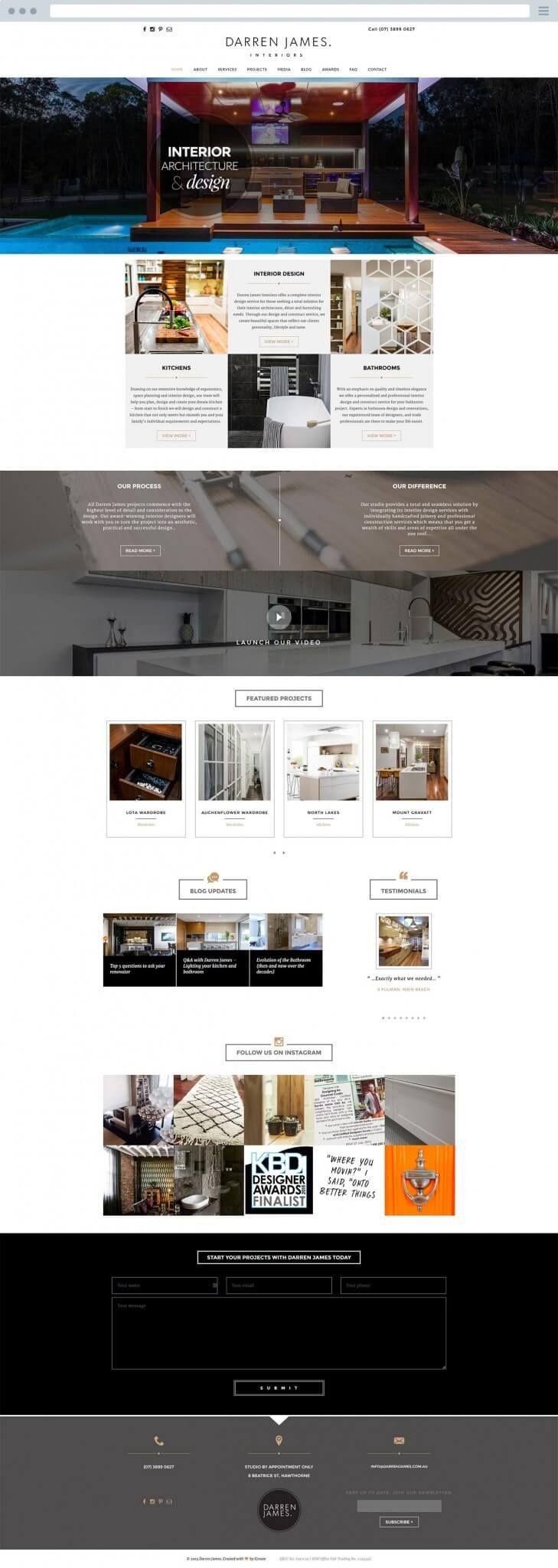 Darren James - Interior Designer Website - iCreate Advertising