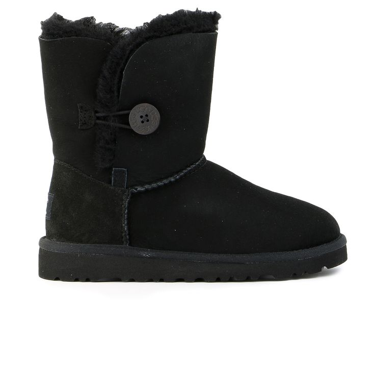 The kids' UGG® Bailey Button is a playful twist on the kids' Classic Boot. Featuring a wooden UGG® logo button and genuine Twinface sheepskin, this boot is comfortable and adorable. Collection Details
