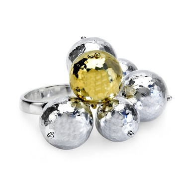 BIRKS LUNA™ Collection, Hammered Bead ring, in Sterling Silver and 18kt Yellow Gold. #birksglamcannes