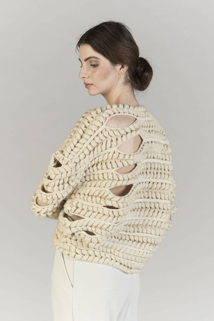 Emma Brooks knitted with partial knitting technique