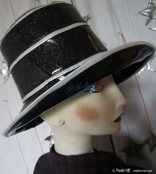 Regenhut, silber Pailletten schwarz, Fest Theat, M von Mathe-HB Couture, stilisierte-Hüte, Mode-Accessoires auf DaWanda.com