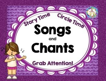 """FREE! Enjoy these copyrighted songs and """"attention-getters"""". The songs are fun to use anytime during Circle Time or as an introduction to Storytime. I use the """"Come with Me"""" song to go around and collect children from centers when they are taking too long to clean up. Just grab a child's hand and begin to form a train as that child grabs another hand etc. Finish up by forming a circle at the carpet and have the children sit down ready for a story. Use the attention chants and songs whenever…"""