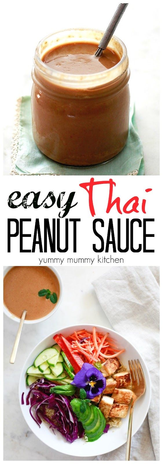 Delicious Thai peanut sauce for spring rolls, Buddha bowls, satay, and more. This easy vegan peanut sauce is made with a simple ingredients.