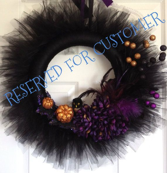RESERVED  Halloween Tulle Wreath. $65.00, via Etsy.