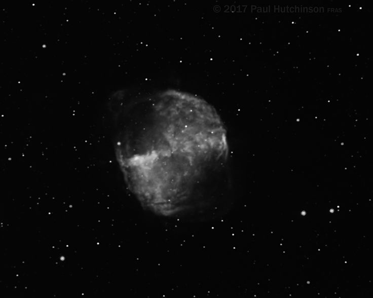 The Dumbbell Nebula (M27) in Hydrogen Alpha  The Dumbbell Nebula (also known as Apple Core Nebula, Messier 27, M 27, or NGC 6853) is a planetary nebula in the constellation Vulpecula, at a distance of about 1,360 light-years. - Wikipedia  Technical card Imaging telescope: Skywatcher Explorer 200p Imaging camera: Atik Titan