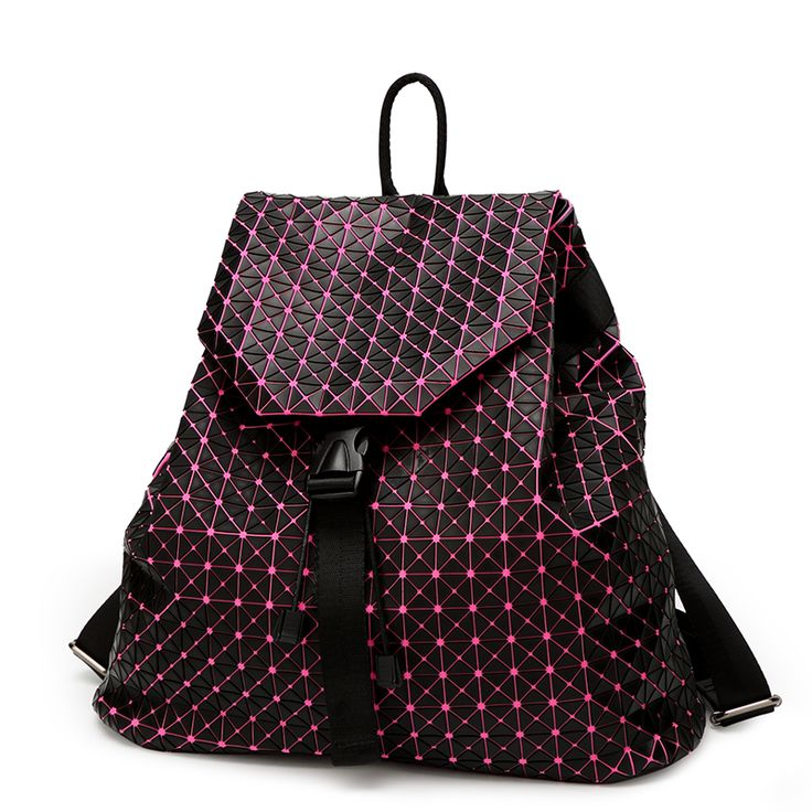 af9d12d169a1 ... With logo BaoBao Backpack female Fashion Girl School bag Geometry  Package Sequins Folding Bags Students mochila ...