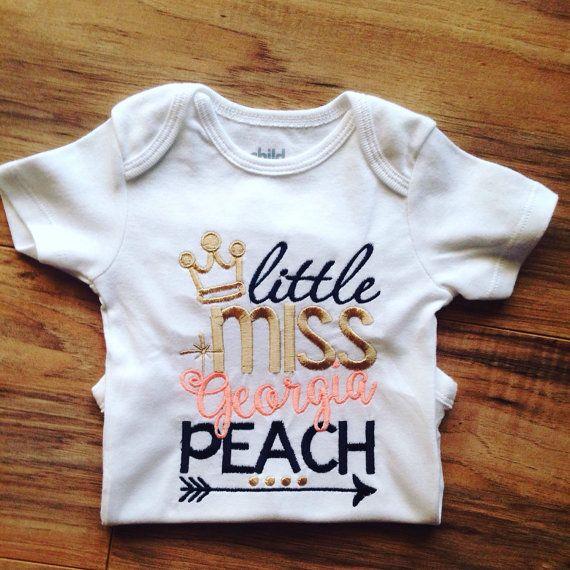Little miss Georgia peach onesie georgia by SouthernStoneStyle