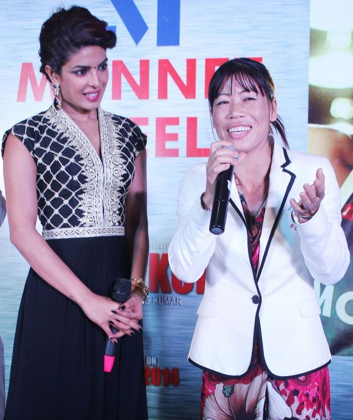 Priyanka Chopra attended the launch of Mary Kom's doll at a mall in New Delhi on Tuesday (September 2). The legendary boxer, Mary Kom along with actor Darshan Kumaar, who plays Mary Kom's husband in the movie also graced the event.