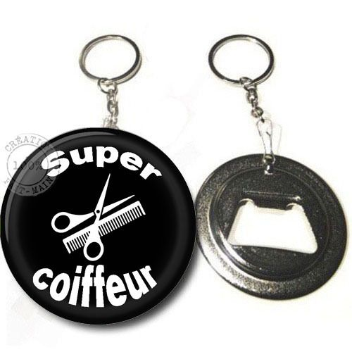 Porte clé décapsuleur / Super coiffeur /cadeau,anniversaire,noël : Porte clés par bijoux-martika-creation