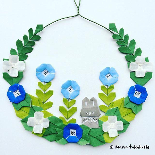 子ウサギがかくれんぼ A mini rabbit hide and seek. . #origami #papercraft #paperflower #rabbit #wreath #garland #botanical #flowergarden #折り紙 #ペーパークラフト #ペーパーフラワー #リース #ガーランド #うさぎ #お花畑