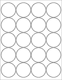 "20 2"""" Blank White Circle Labels"