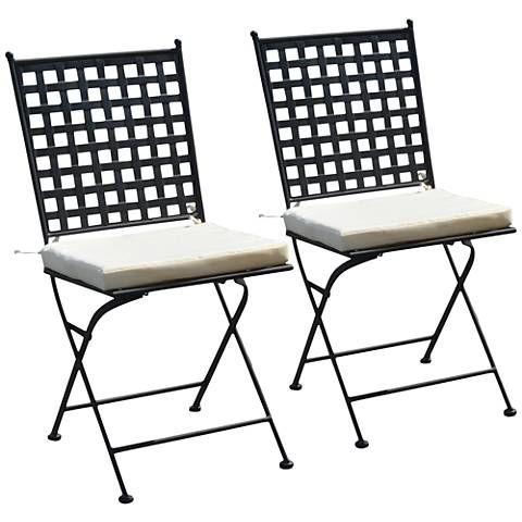 Nantucket Black Iron Outdoor Folding Chair Set of 2 - #15G53 | Lamps Plus
