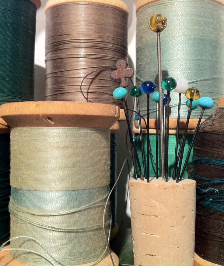 Antique Glass Headed Pins and Spools of Thread