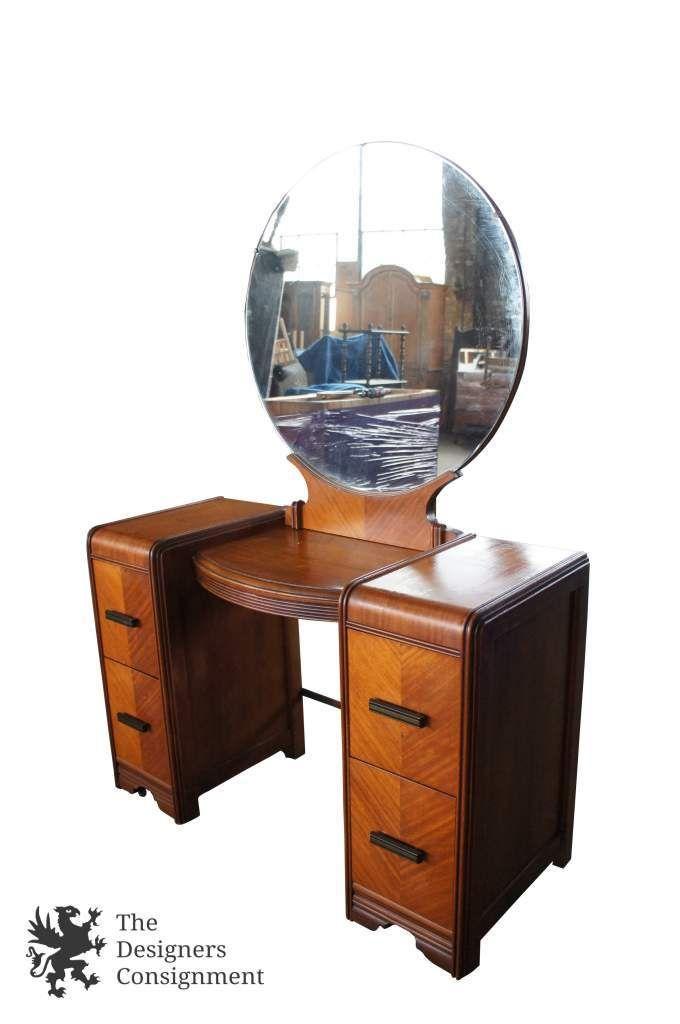marble top bedroom furniture%0A Jonhson Carper Art Deco Waterfall Vanity Desk Dressing Table Mahogany  Mirror   The Designers Consignment