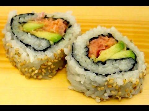 How To Make Sushi - Spicy Tuna Sushi Rolls - YouTube