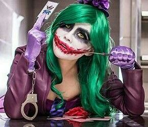 Female Joker: definitely my Halloween costume this year. Need: 1. Bright, green wig 2. Maxi purple blazer 3. Green or orange blouse. 4. Tie 5. Striped thigh high socks 6. Purple bodycon skirt 7. Gloves