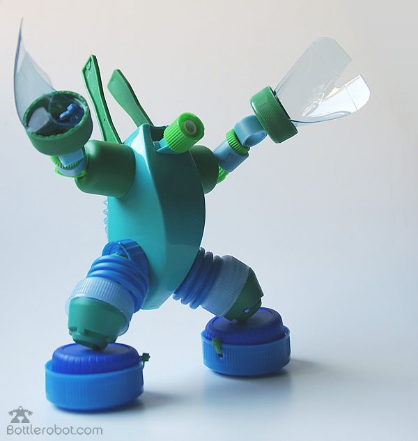 Recycled plastic bottle robots.  Cool but needs a bigger head IMPDO.