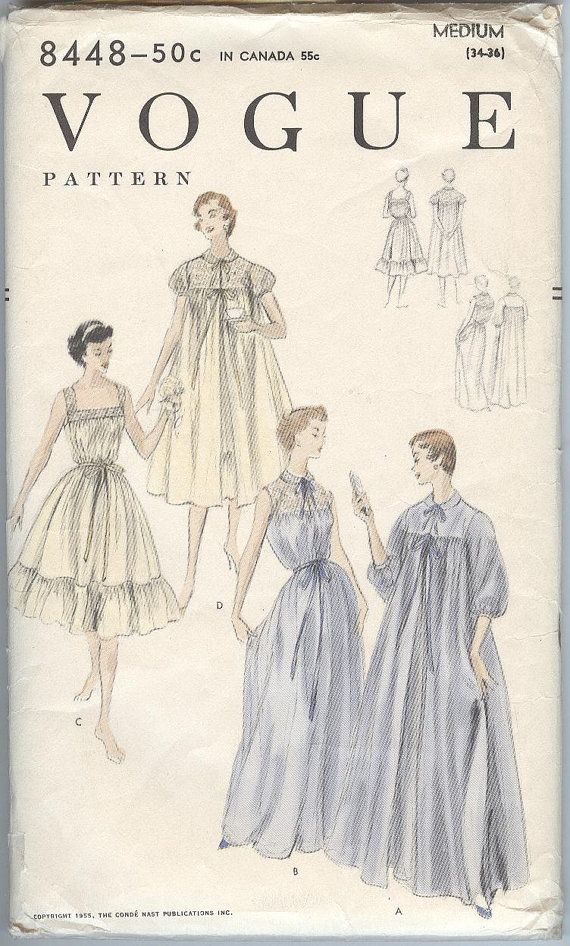 1950s Nightgown  Pattern Vintage Vogue Sewing Pattern 8992 Peignoir and Gown Size Medium on Etsy, $19.86 CAD