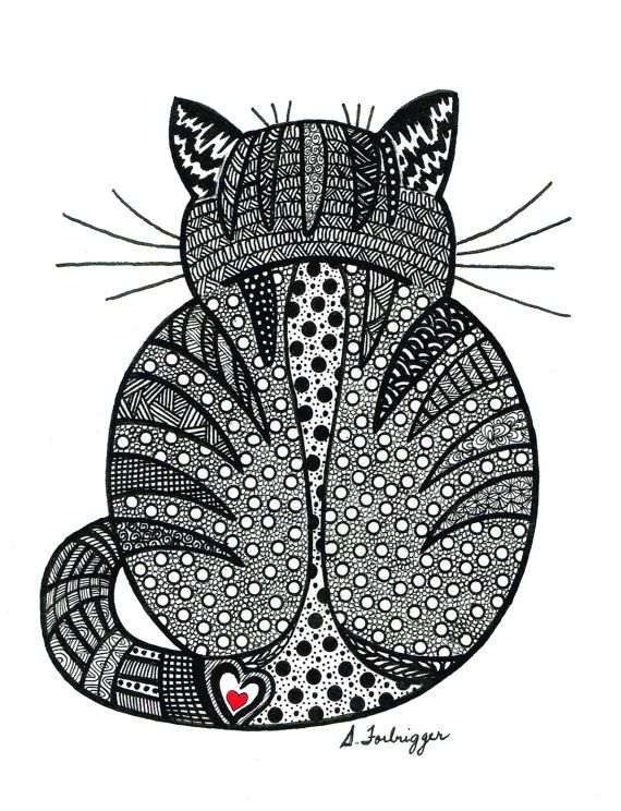Black and White Zentangle Cat drawing Print by LimeGreenArtShop